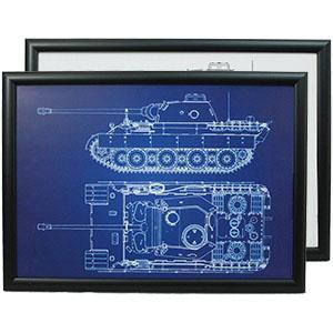Framed Military Blueprints
