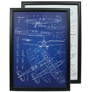 Framed Military Blueprints
