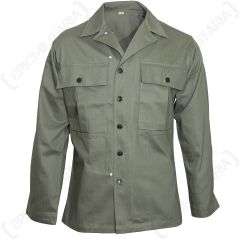 Front view of buttoned up, green American HBT Jacket with two large chest pockets