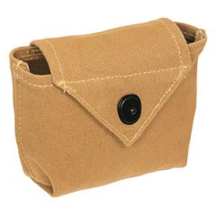 Khaki pouch with fold over flap top, with a black popper style button closure