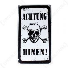 Vintage Achtung Minen Sign
