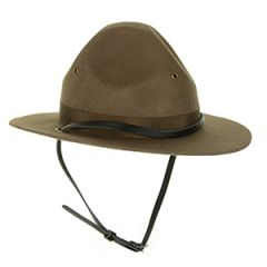 Front view of dark green US Drill Instructors Hat with chin strap