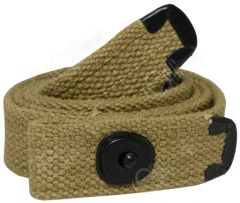 Front view of rolled up khaki canvas M1 Carbine Webbing Sling with black metal ends