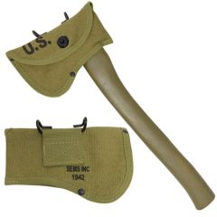 Khaki canvas WW2 US Axe Cover - Olive Drab with U.S. stamped in black