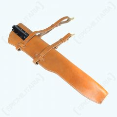 Front view of US M1 garand tan leather holster with straps