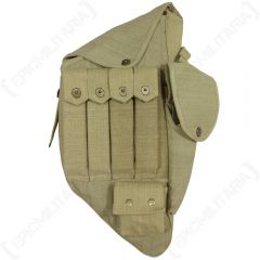 Front view of khaki canvas Thompson M1928A1 SMG Carry Case, showing 4 vertical pouches with brass popper-style buttons, a side pouch, top pout, and bottom pouch, all with the same brass popper-style buttons