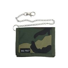 Woodland Camo Wallet with Security Chain