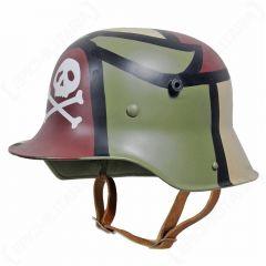 WW1 German M16 Helmet - 3 Colour Camo with Skull Main