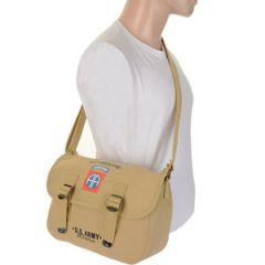 82nd Airborne Canvas Shoulder Bag - Khaki