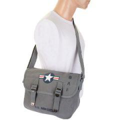 USAF Canvas Shoulder Bag - Grey