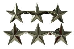 Front of pair of US 3 Star Lieutenant General Rank Badges, each has three stars in a horizontal line