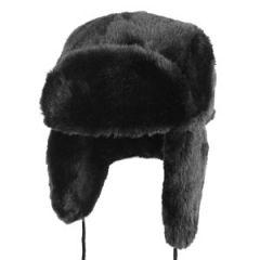 Black Faux Fur Ushanka