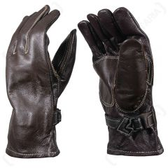 Swedish Army White Stitched Brown Leather Gloves