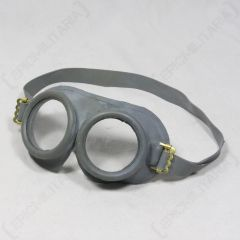 Front of grey NATO Gas Mask Goggles with grey rubber strap