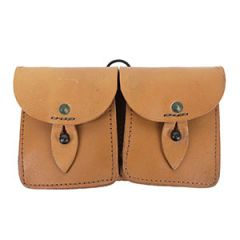 Double French Leather Pouch - Tan