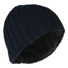 Heavy Knit Lined Beanie - Blue