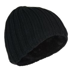 Heavy Knit Lined Beanie - Black