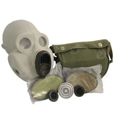 Front view of Russian PBF Grey Gas Mask with two extra filters and a canvas olive carrier