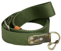 Front view of rolled up olive green canvs Green AK47 Webbing Sling witj ,eta; D ring and hook on the end