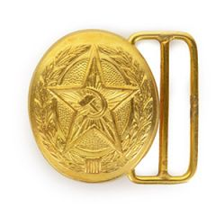 Soviet Star with Hammer and Sickle Oval Belt Buckle - Gold
