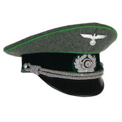 German Army Officer Visor Cap - Jager Green Piping - Medium (56/57cm)