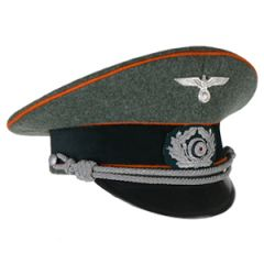 German Army Officer Visor Cap - Orange Piping - Medium (56/57cm)