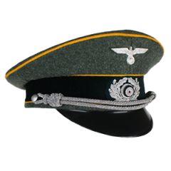 German Army Officer Visor Cap Gold Yellow Piping - Imperfect Thumbnail