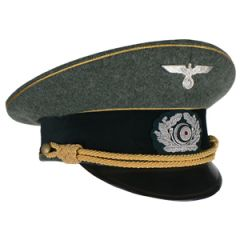 German Army Officer Visor Cap Gold Piping and Braid - Large (57/58cm)