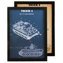 German Tiger 1 Tank Framed Blueprint