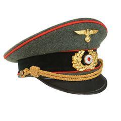 German Army General Visor Cap - Field Grey - Red Piping - XL (60/61 cm)