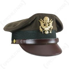 Side view of dark green US Army Officers Visor Cap with brown leather peak and band, and gold insignia on the front