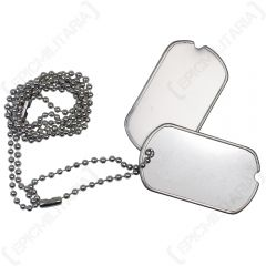 Silver US Dog Tags on ball chain