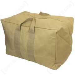 Rectangular khaki canvas bag with two canvas handles on each side