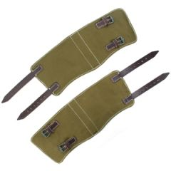 Army Green Canvas & Brown Leather Gaiters Thumbnail