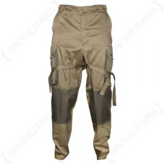 Front view of pair of khaki US Airborne M1942 Trousers with padded knees, and leg ties tied around the thigh. There is a pocket on each thigh.