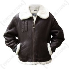 Front view of brown leather American B3 Bomber Pilot Jacket with white fleece lining. The arms of the jacket are in the pockets. There is a brass coloured zip, done up the middle
