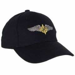Black Baseball Cap with WW2 Propeller and Wings