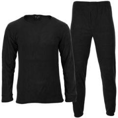 Black Round Neck Thermal Underwear Set