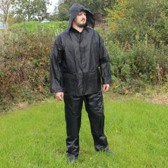 Jacket and Trousers Waterproofs Set - Black - Hood Up