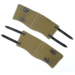Army Green Canvas & Black Leather Gaiters Thumbnail