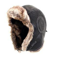 Black Aviator Leather and Faux Fur Ushanka Thumbnail