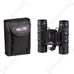 10 x 25 Foldable Binoculars with Case - Black