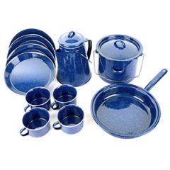 Blue Enamel Cooking and Dinner Set