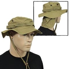 British Coyote Rip Stop Boonie Hat with Neck Flap - Thumbnail