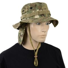 British Multitarn Camo Rip Stop Boonie Hat with Neck Flap Thumbnail
