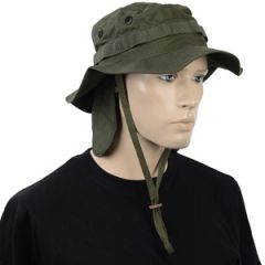 British Olive Drab Rip Stop Boonie Hat with Neck Flap Thumbnail
