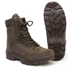 Brown Tactical Army Boot with YKK Zipper - Thumbnail