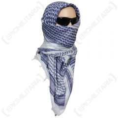 Shemagh Headscarf - White and Blue