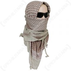 Shemagh Headscarf - Coyote and Burgundy
