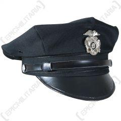 US Police 8 Point Visor Cap - Black